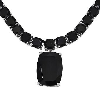 "53 Ct Black Spinel Collar Chain Necklace for Women Sterling Silver Size 18"" TJC"