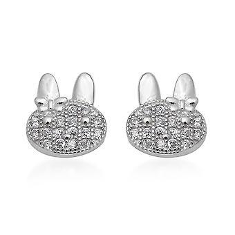 ELANZA Cat Ear Earrings Cubic Zirconia CZ Sterling Silver Earrings Women