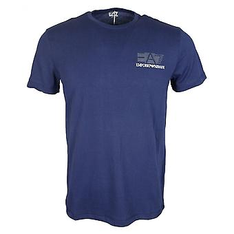 EA7 Emporio Armani Cotton Printed Logo Navy T-shirt