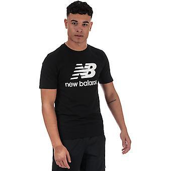 Men's New Balance Essentials Stacked Logo T-Shirt en noir