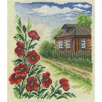 Panna Cross Stitch Kit : Poppy Cottage