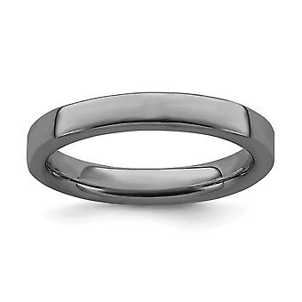 925 Sterling Silver Polished Ruthenium plating Stackable Expressions Black plated Ring Jewelry Gifts for Women - Ring Si