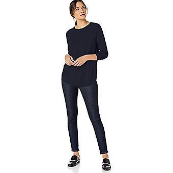 Lerche & Ro Frauen's Rundhals Shirttail Saum Pullover, dunkle Marine, klein