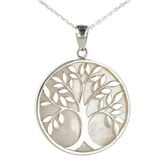 ADEN 925 Sterling Silver White Mother-of-Pearl Tree of Life Round Shape Pendant Necklace (id 4006)