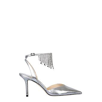 Jimmy Choo Birtie85drusilvercrystal Kvinder's Sølv læder sandaler