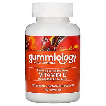 Gummiology, Adult Vitamin D3 Gummies, Natural Peach & Sour Cherry Flavors, 100 V