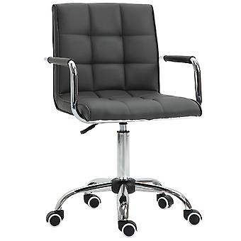Vinsetto PU Leather Grid-Padded Office Chair Square Seat w/ Adjustable Height Fixed Armrests 5 Wheels Wide Moulded Seat Home Work Style Sophistication Grey