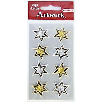 Silver And Gold Stars Craft Embellishment By Artoz