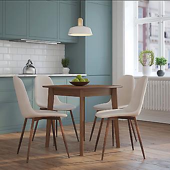 Adalyn/Gemma 5Pc Dining Set - Walnut Table/Beige Chair