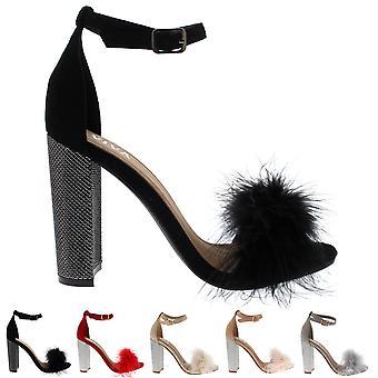 Womens avond blok hiel Fashion uitgesneden partij hoge hakken pluizig pompen UK 3-8