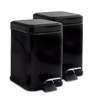 Square Steel Bathroom Pedal Bin with Removable Inner Bucket, 3 Litres - Black - Pack of 2