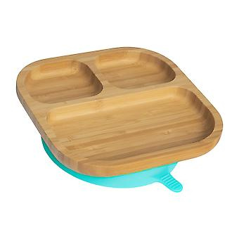 Tiny Dining Children's Bamboo Dinner Plate with Stay Put Suction - Segmented - Blue