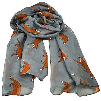 Ties Planet Fox Animal Print Pewter Grey Lightweight Women's Châle Scarf