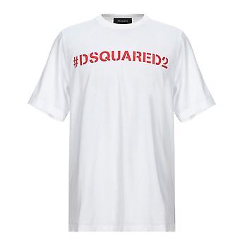 Dsquared2 هاشتاج الشعار الحجم الكبير تي شيرت أبيض