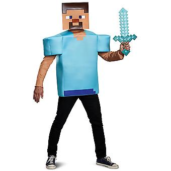 Steve Classic Mojang Minecraft Player Video Game Dress Up Mens Costume L-XL