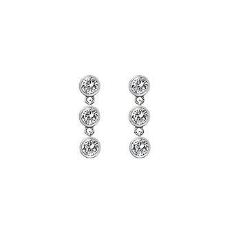 Diamantes calientes plata tiertriple gota pendientes DE585