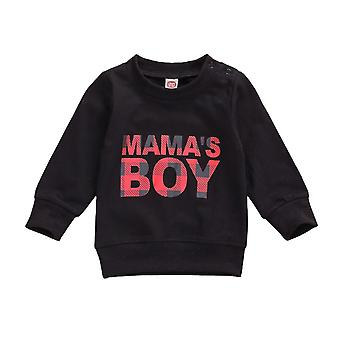 Baby Boys Long Sleeve Sweatshirts- Round Neck Letter Printed Casual Pullover