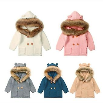 Winter Warm Hooded Coat Fur Collar Jacket Clothes For Kids