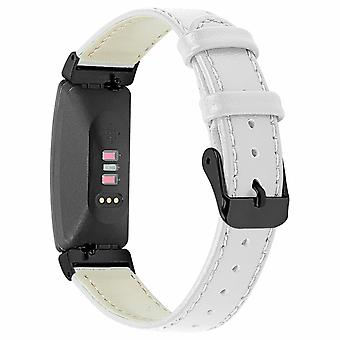 For Fitbit Inspire / Inspire HR Genuine Leather Band Replacement Wristband Strap[White]