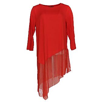 DG2 por Diane Gilman Women's Top Mixed Media Assimmetric-Hem Red 710-378