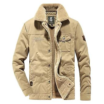 Men's Winter Work Jacket Cotton Large Size Military Style Jacket Fleece Lining Simple And Stylish Fur Collar Design