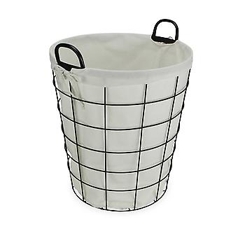 Large White Fabric Lined Metal Laundry Type Basket with Handle