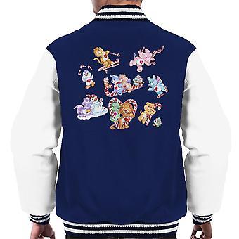 Care Bears Christmas Candy Cane Montage Men's Varsity Jacket