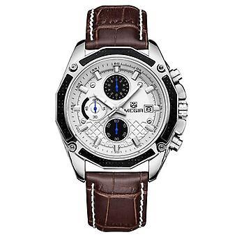 MEGIR M2015 Men Watch Leather Strap Multifunction Chronograph Fashion Casual