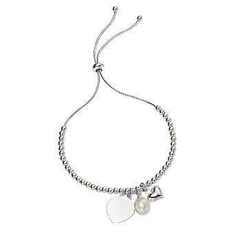 Anfänge 925 Sterling Silber Damen' Silber Ball Kette Umschalt Armband mit Herz und Süßwasser Perle Charms