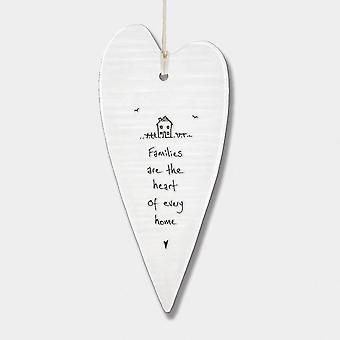 East of India Wobbly long heart Families are the heart of every home Gift
