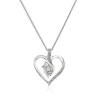 Sterling Silber Diamant 3 Stein Herz Anhänger Halskette (1/4, weiß, Größe keine Größe