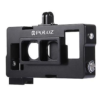 PULUZ 2 in 1 Behuizing Shell CNC aluminiumlegering beschermkooi met lensframe voor GoPro HERO4 /3+(Zwart)