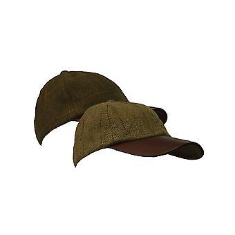 Walker and Hawkes - Uni -Sex Waterproof Branded Tweed Baseball Cap Leather Peak