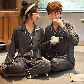 Satin Silk Couple Sleepwear Pajama Lovers Night Suit Men & Women Clothing