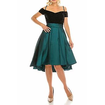 Teal Embellished Lace & Taffeta Party Dress