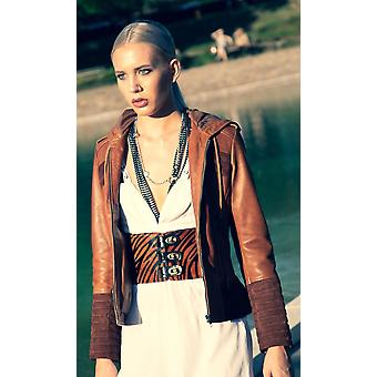Suede Leather Womens Hooded Leather Jacket