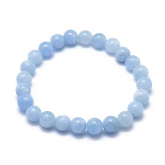 Bracciale stretch aquamarine naturale con perline