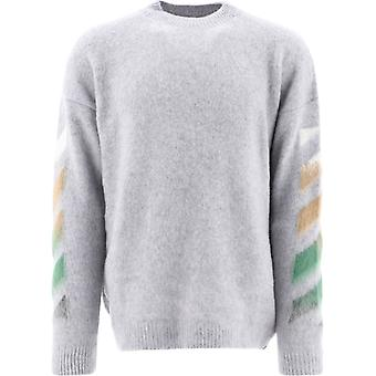 Off-white Omha036r21kni0017284 Männer's Grau Wolle Pullover