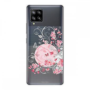 Scafo per Samsung Galaxy A42 5g in silicone morbido 1 mm, fiore e farfalla