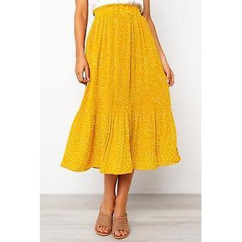 White Dots Floral Print Pleated Women Elastic High Waist Side Pockets Midi