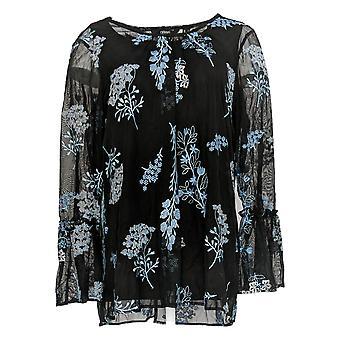 Dennis Basso Women's Top Floral Mesh Long Sleeve W/ Tank Black A341799
