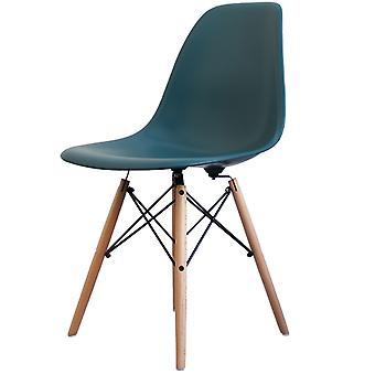 Charles Eames Style Teal Plastic Retro Side Chair - Natural Wood Legs