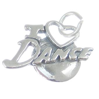I Love Dance Sterling Silver Charm .925 X 1 Dancing Dancer Charms - 3360
