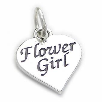Flower Girl Sterling Silver Charm .925 X 1 Flowers Girls Wedding Charms - 4136