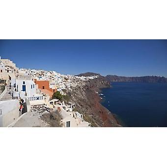 Высокий угол зрения город на острове Ия Санторини Киклад островов Греции плакат печати панорамных изображений (36 x 19)
