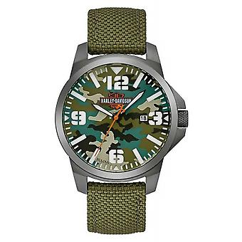 Harley Davidson 78B157 Men's Bar & Shield Logo Camo Print Wristwatch