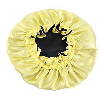 Dospelý nastaviteľný satén dvojvrstvový pružinový čiapka žltá