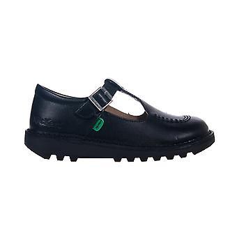 Kickers Kick T Bar nahka Junior tyttöjen solki koulun kenkä kenkä musta
