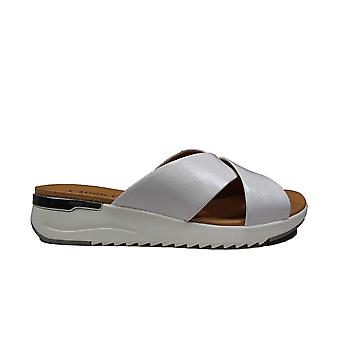 Caprice 27200-122 White Leather Womens Slip On Mule Sandals