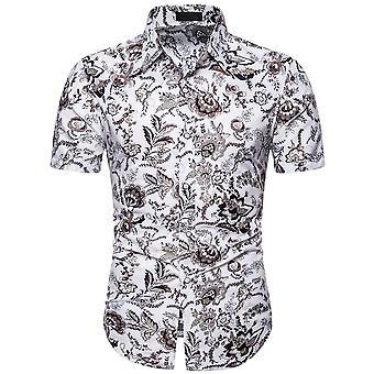يانغفان الرجال العرقية قصيرة الأكمام قميص مطبوع